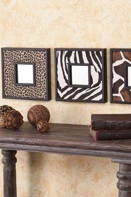Animal Print Decorative Mirror - Set of 3