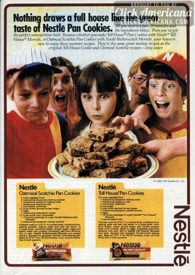 Toll House Pan Cookies & Oatmeal Scotchie Pan Cookies (1982)