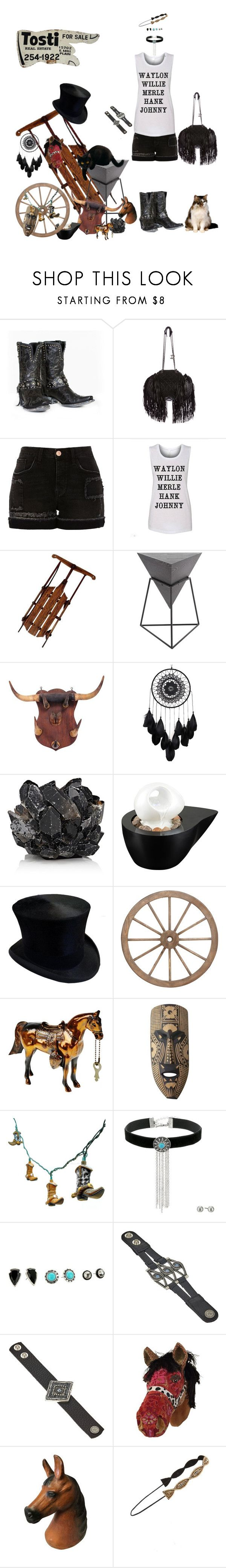 """Estate Sale Shopping"" by blackmagicmomma ❤ liked on Polyvore featuring Chanel, River Island, Uma, McCoy Design, John Timberland, M&F Western, Leatherock and Cara"