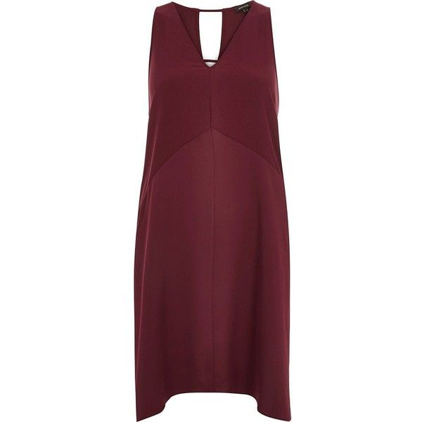 River Island Dark red V-neck sleeveless dress ($40) ❤ liked on Polyvore featuring dresses, sale, cut out back dress, v-neck dresses, red v neck dress, river island dresses and cutout back dresses