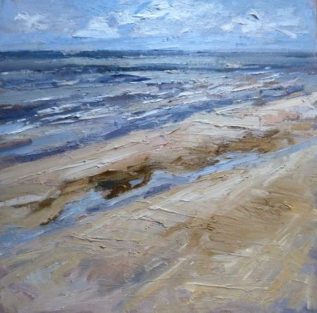 Ian Norris: 80x80cm. Incoming tide Formby Point. oil on board.