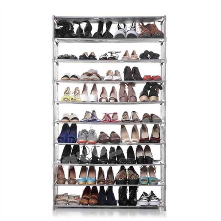 50 Pairs Capacity 10 Tiers Portable Steel Stackable Storage Shoe Rack Organiser
