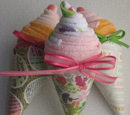 10 Alternatives to Diaper Cakes: Washcloth Cupcakes, Sushi Rolls & More! | Disney Baby Ice Cream Cone.
