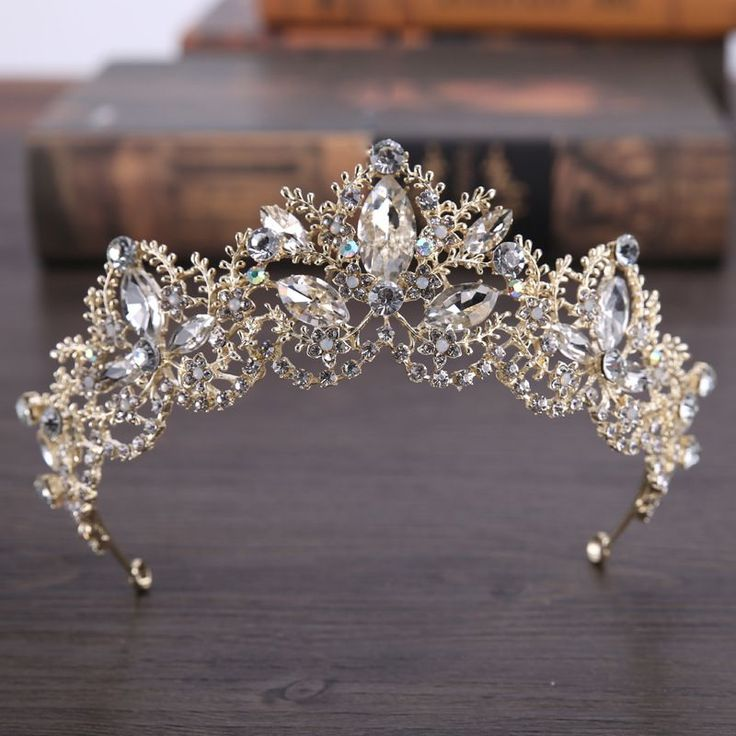 Light Gold Baroque Luxury Crystal Bridal Crown Tiara Wedding Hair Accessories - Uniqistic.com