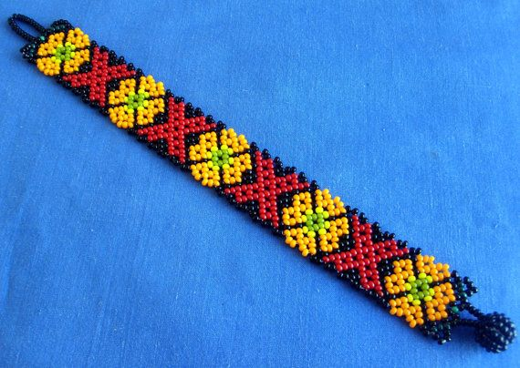 Mexican Huichol Beaded peyote bracelet by Aramara on Etsy