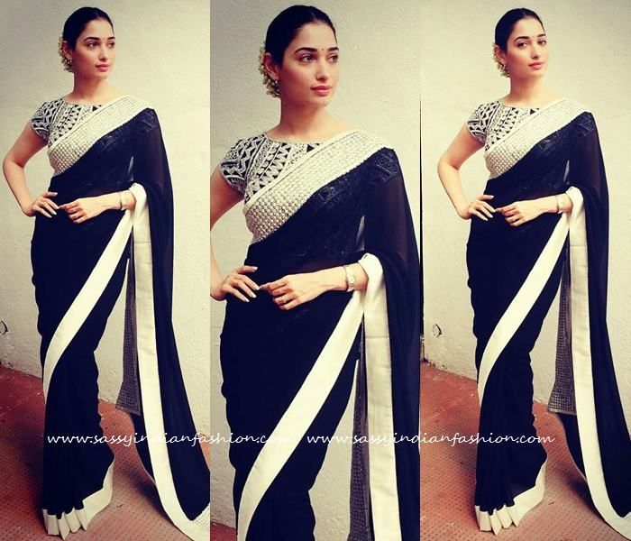 Tamanna in Black Sarees, Tamanna in Devi Movie Promotions, Blouses for Black Sarees with White Border, Celebrities in Black Sarees.