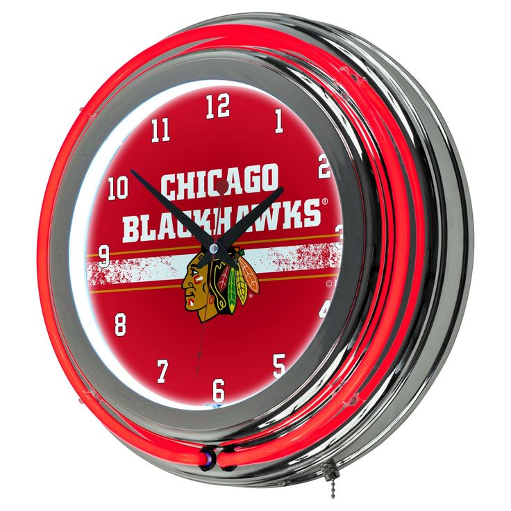 NHL Chicago Blackhawks Chrome Double Rung Neon Clock