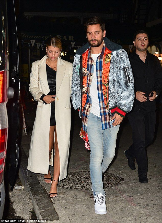 Inseparable: Scott Disick , 34 and girlfriend Sofia Richie, 19, were spotted out and about in New York on Thursday night after jetting back from a romantic mini-break in Venice, Italy