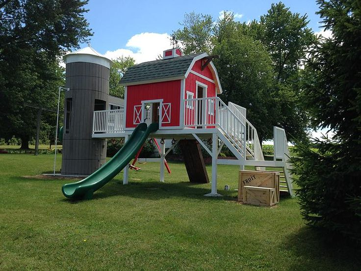 Barn themed swing set google search creative play for Boys outdoor playhouse