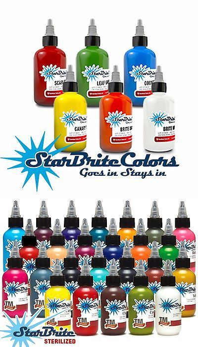 Tattoo Inks: 6 Bottle Set Starbrite Tattoo Ink Authentic Colors 1/2Oz Bottles BUY IT NOW ONLY: $32.99