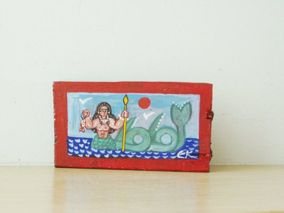 Vintage mermaid painting Greek folk art by ArktosCollectibles