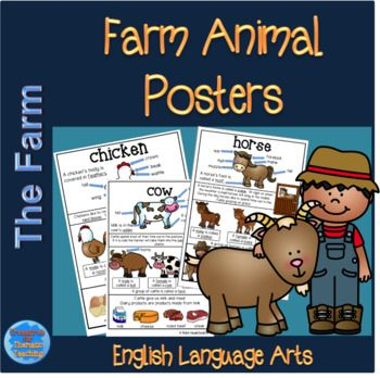"""I have created these posters to assist in building basic vocabulary for animals that would fit into a farm theme. Included in this product are the following A """"Farm Animals"""" classroom display heading poster. A """"Farm Animals"""" booklet cover Chicken poster"""