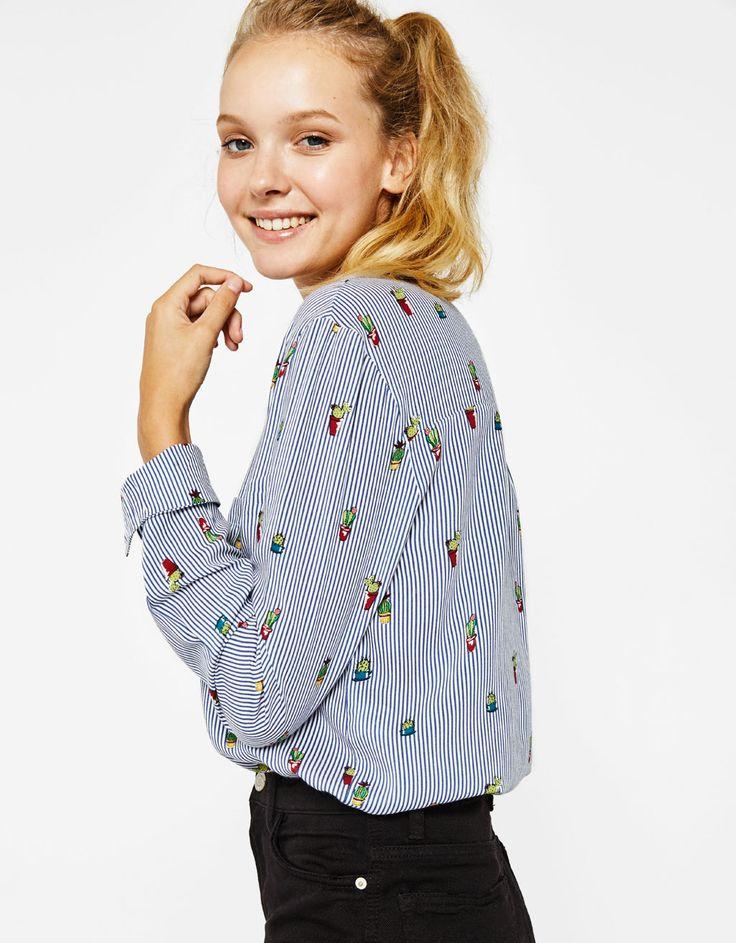 Cropped shirt with button-up back - Shirts - Bershka United Kingdom