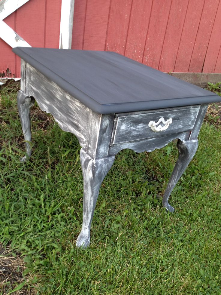 Rustic End Table. White Handle. Furniture Decor