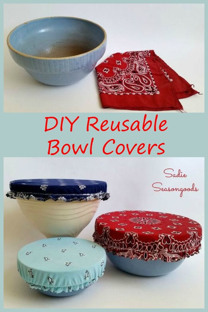 Bandanas and fabric scraps are used to create these adorable DIY reusable bowl covers