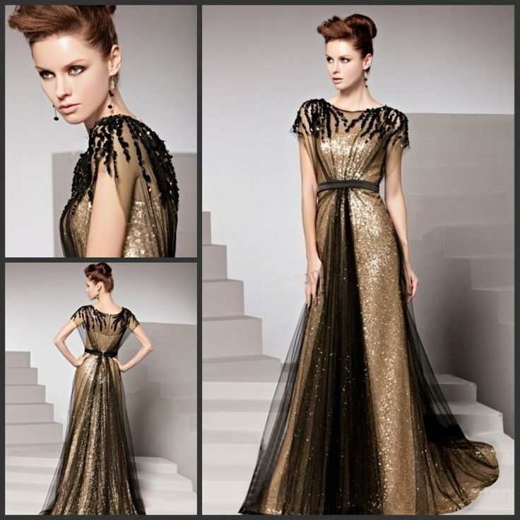 Mother of TH Bride Prom Dresses Long Formal Evening Gowns Black Gold Sequin Lace | eBay