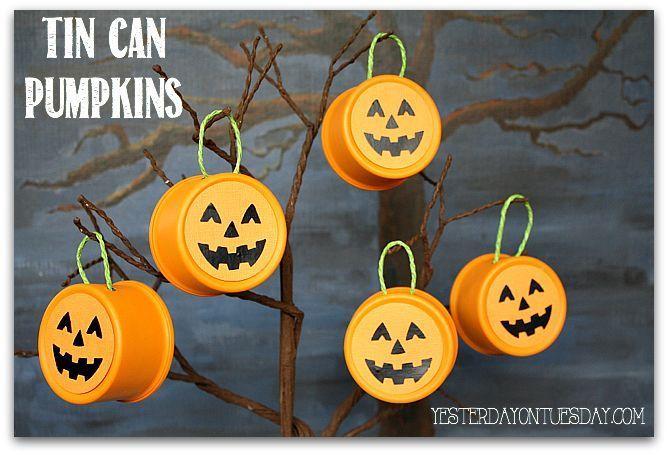 Fall Decor: Tin Can Pumpkins From Pet Food