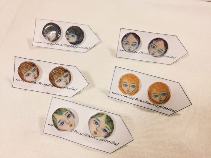 Jewellery, button  earrings, faces, illustration, design, handmade