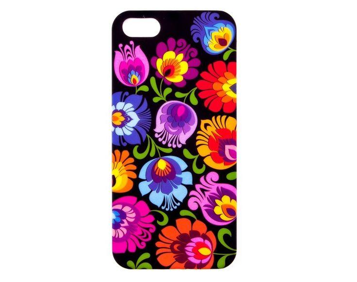 FOLK+Etui+na+iPhone+5+czarne+łowickie+w+Folkstar+na+DaWanda.com