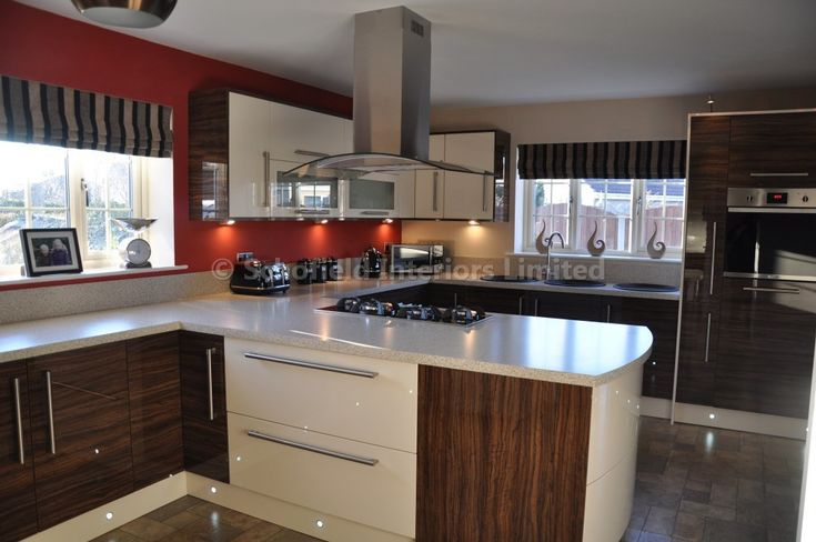High Gloss Cream & Dark Seville Olive Kitchen with Getalit Laminate Worktops