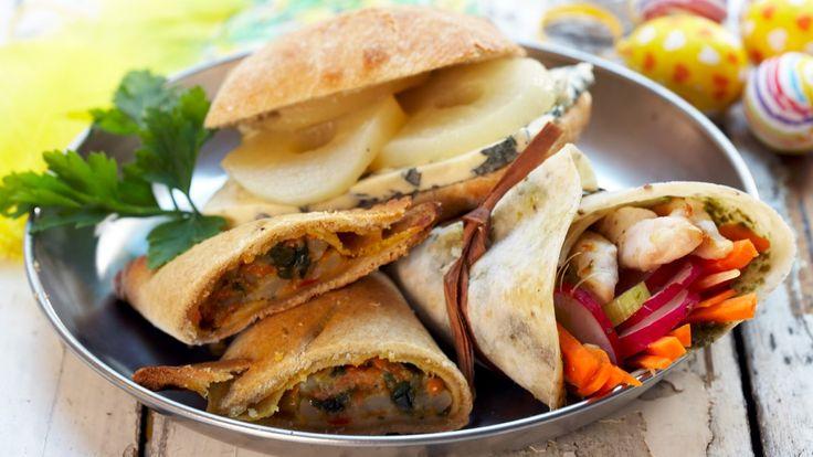 Sandwich med ost og krydderkokt pære