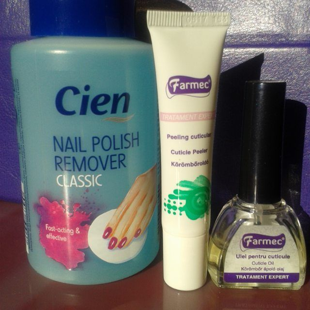 Products I use to start up any many and complete it:  Cien nail polish remover based on acetone Farmec cuticle remover Farmec cuticle oil