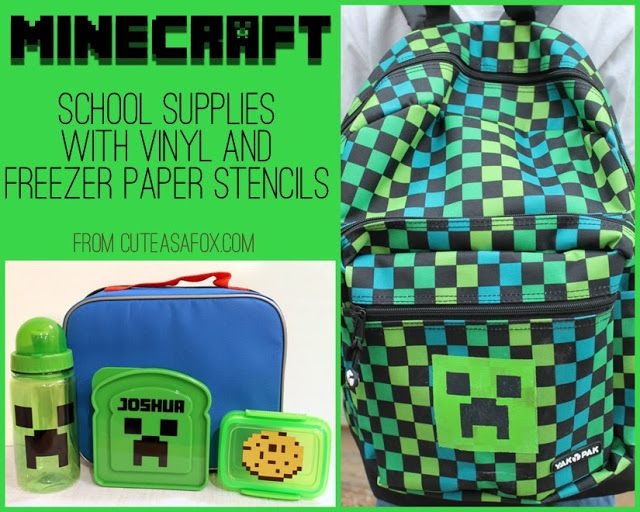 Make your own Minecraft Back to School Accessories at http://cuteasafox.com