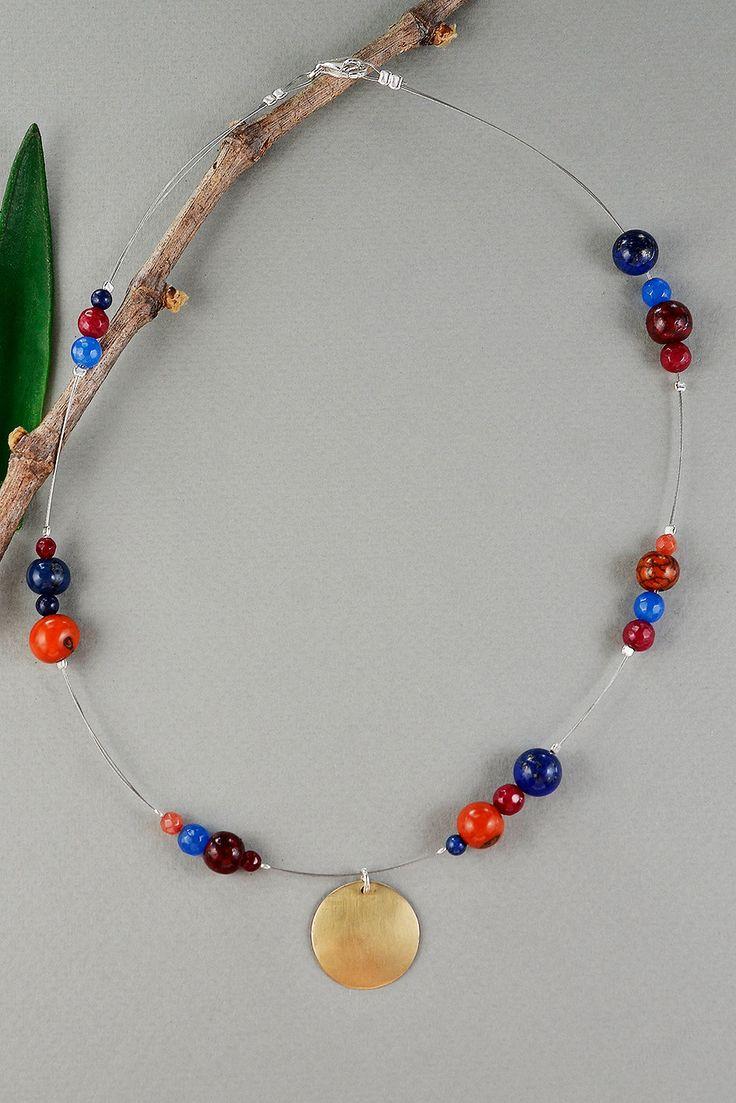 Multicolor necklace with tumbaga circle pendant, short iron necklace with navy blue lapis lazuli, garnet, orange jade and acai beads by NataliaNorenasilver on Etsy