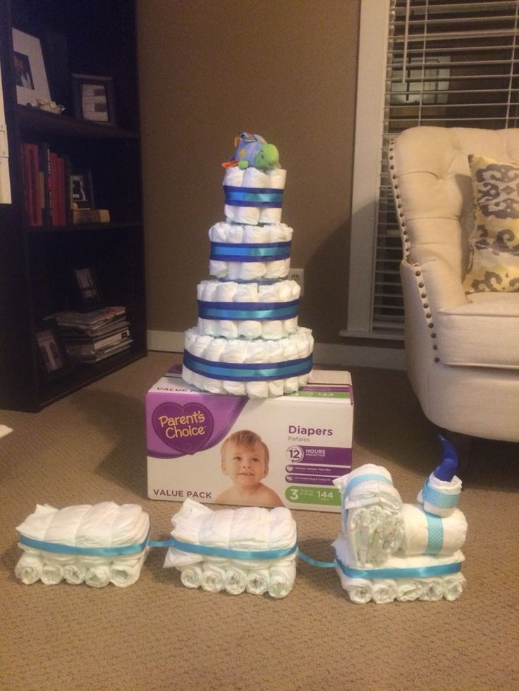 Diaper cake, diaper train, boy baby shower.                                                                                                                                                     More