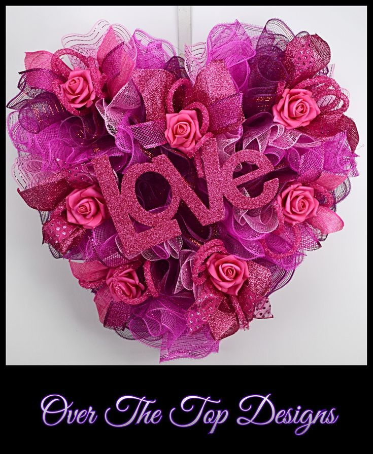 Heart Shaped Hot Pink LOVE Valentines Wreath
