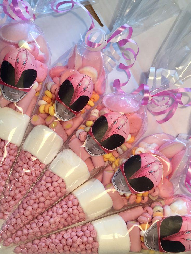 #pink power ranger sweet cones by Sweet Mafia