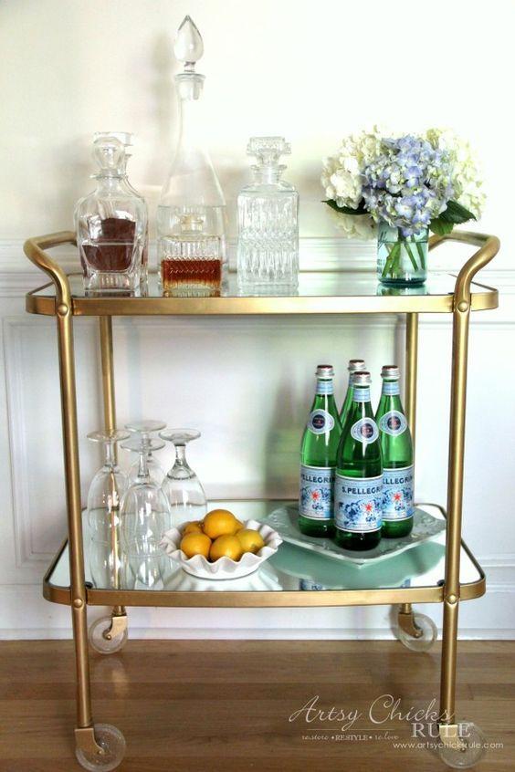 Beverage Cart Goes Glam (Trash to Treasure) - thrifty makeover SAVED MONEY - artsyhchicksrule #beveragecart: