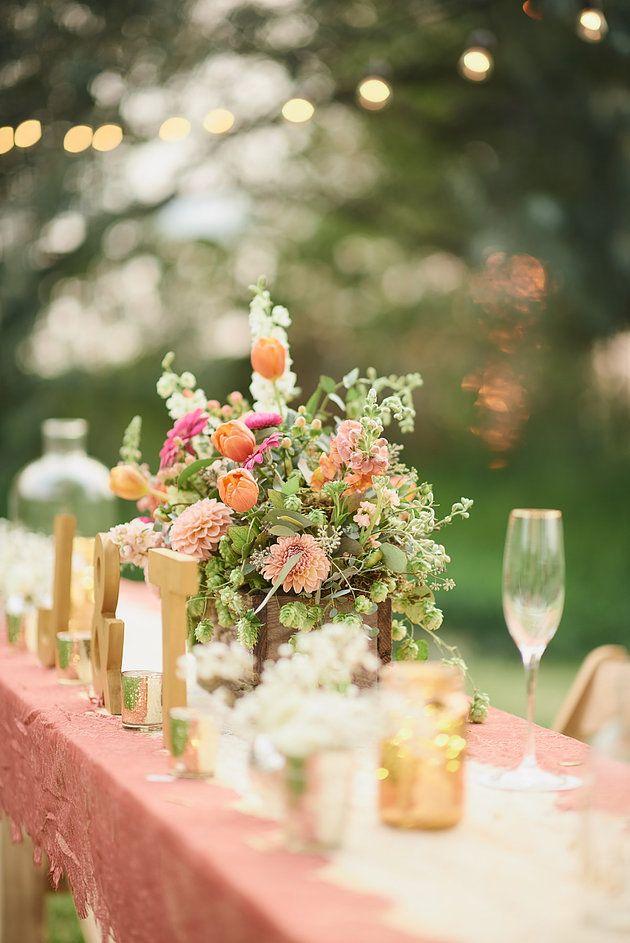 Wilton Photography | The Flower Basket | Moses Lake Wedding | backyard wedding reception | blush and gold wedding | head table