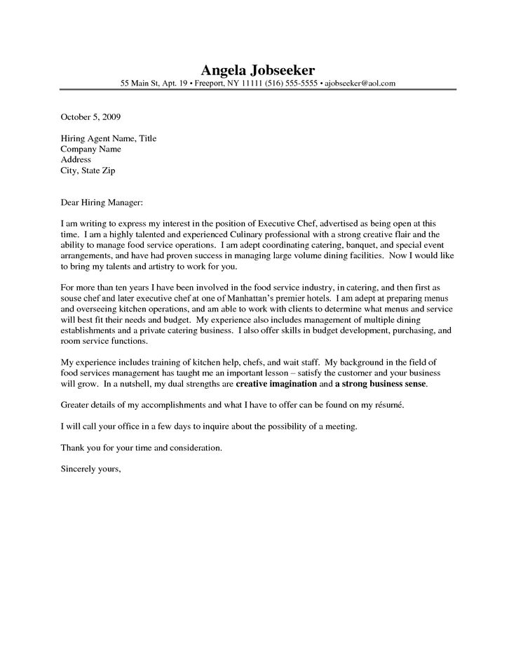 chef cover letter examples the sample throughout