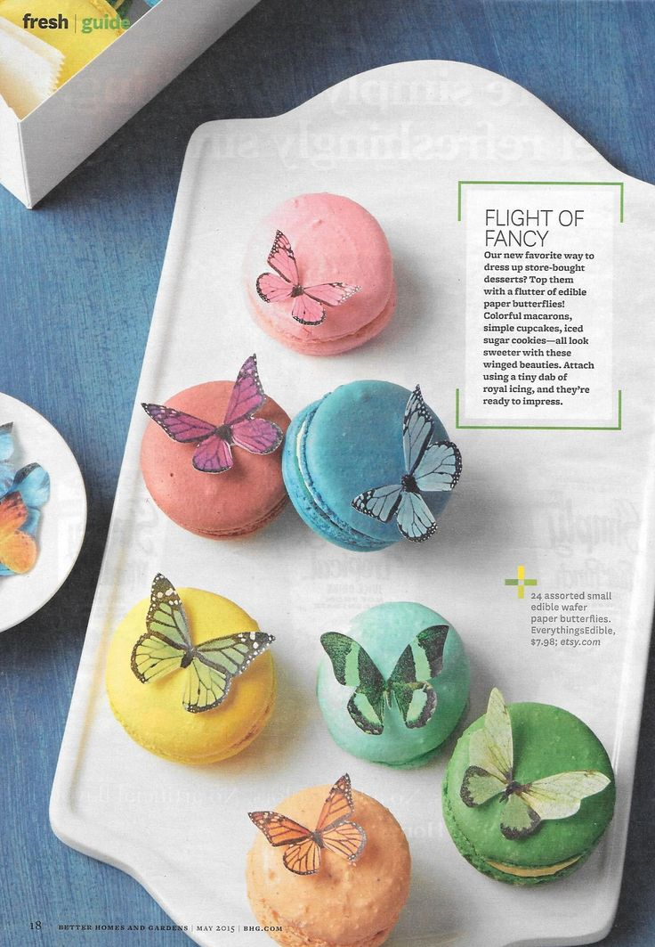 Love these edible wafer paper butterflies. Everythings.Edible, $7.98; Etsy.com Better Homes and Gardens May 2015 issue These would be great on cupcakes for a shower.