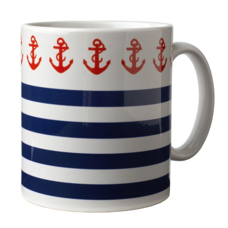 'Sailing Chic' mug- love the red anchors