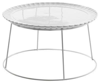Scopri Tavolino Il piato e' servito -/ Ø 60 cm - Piatto in ceramica rimovibile, Bianco di Mogg, Made In Design Italia