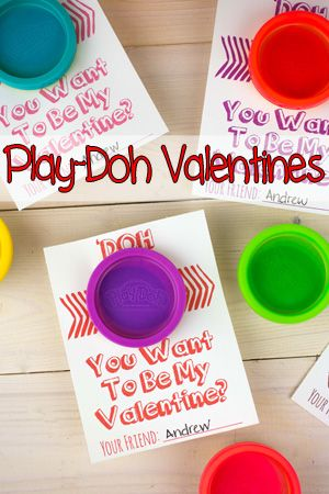 "Handmade Valentine: ""DOH"" You Want To Be My Valentine? Play-Doh Valentines, with FREE printable!"