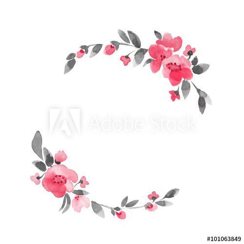 Simple floral wreath. Watercolor flowers in vector 3