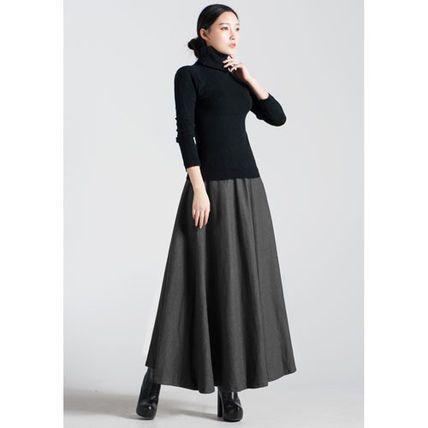 スカート 【送料無料】 かわいい ウール マキシ丈 ロング スカート 4色(3)