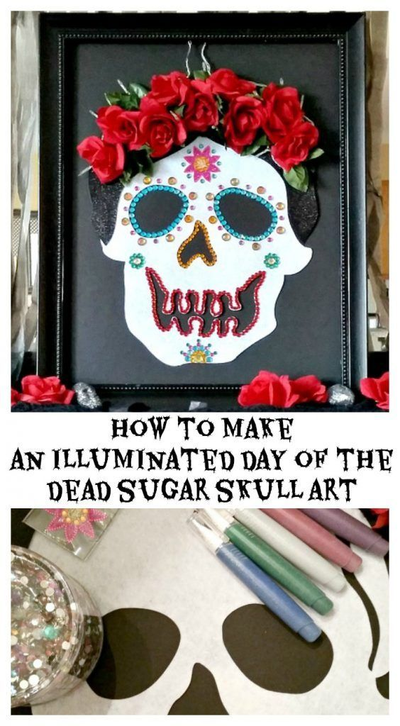 How to make an illuminated Day of the Dead Sugar Skull Art using dollar store felt skull, roses, foam board, lights, and glue.