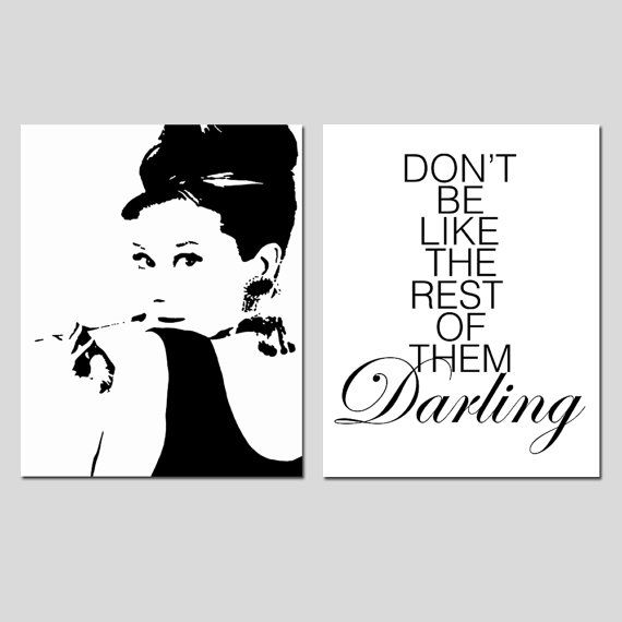Audrey Hepburn Silhouette - Dont Be Like The Rest Of Them Darling Quote - Set of Two 8x10 Prints - Choose Your Colors, $39.50