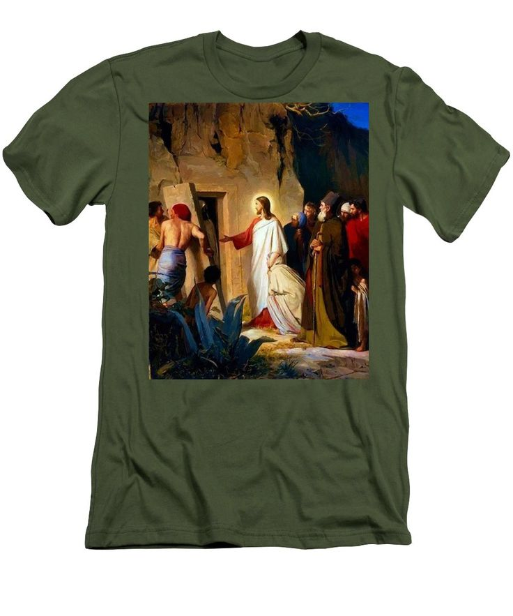Raising Men's T-Shirt (Athletic Fit) featuring the painting Raising Of Lazarus 1870 by Bloch Carl