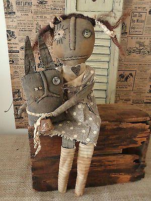 OOAK Primitive Grungy Black Folk Art Rag Doll Prim Manor | eBay