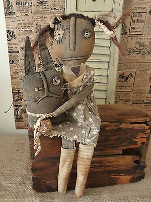 OOAK Primitive Grungy Black Folk Art Rag Doll Prim Manor | eBay