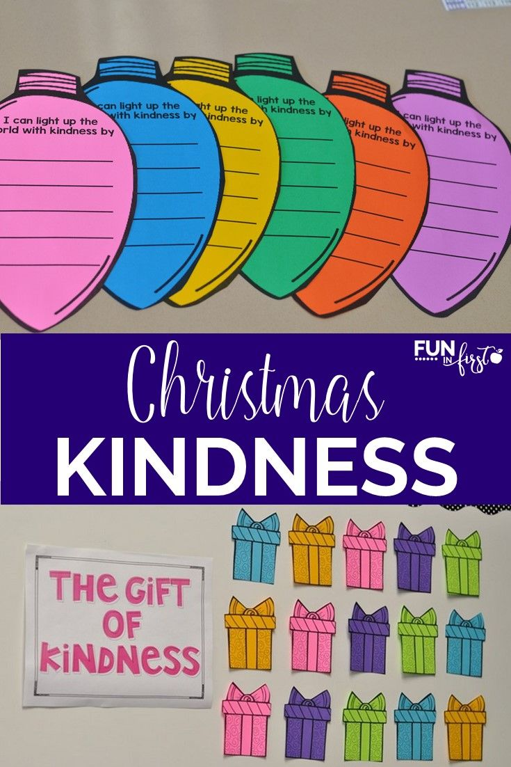 Wonderful ideas for teaching kindness at Christmas to students.  This FREEBIE includes a bulletin board idea and a way to spread kindness.