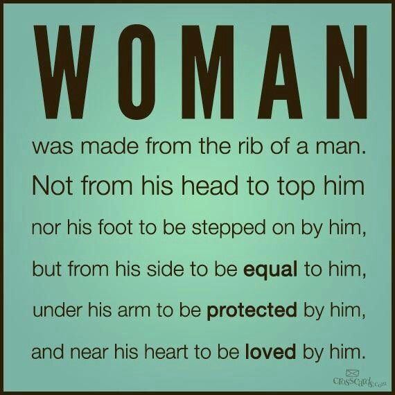 This is how God made woman to be and man should treat woman to be.
