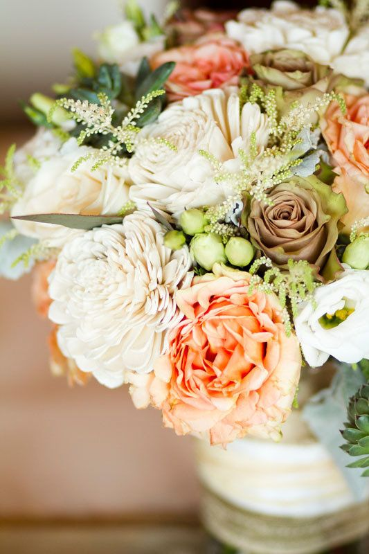 sage & apricot cream flowers...need to have mom make an arrangement with these colors
