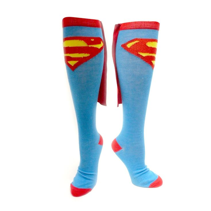 Paire de Chaussettes Superman Hautes Bleu Ciel Costume - 8.99€- #Logostore