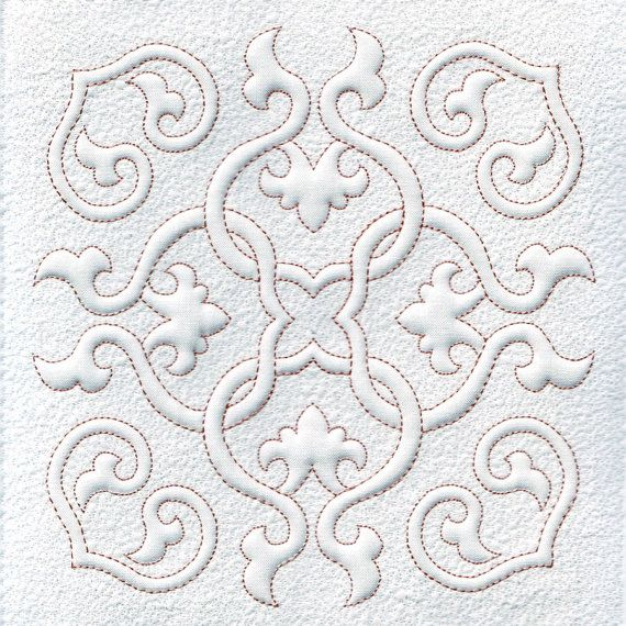 Quilt Blocks, Quilting, Trapunto, Hearts and Swirls, Machine Embroidery Design,  Digital Pattern, Instant Download